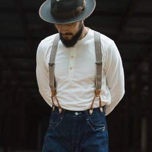 Henley Shirt Vintage Clothes Slim-Fit BRONSON Men long-Sleeve Solid-Color Mens Cotton