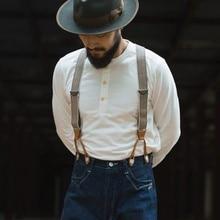 BRONSON koszula typu Henley dawne czasy mężczyzna bawełniana koszulka męska koszulka z długim rękawem Slim dopasowane koszulki na co dzień ubrania Vintage jednolity kolor