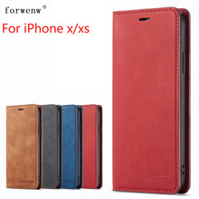 For iPhone XS Case Magnetic Phone Cover Wallet Flip Leather Stand X