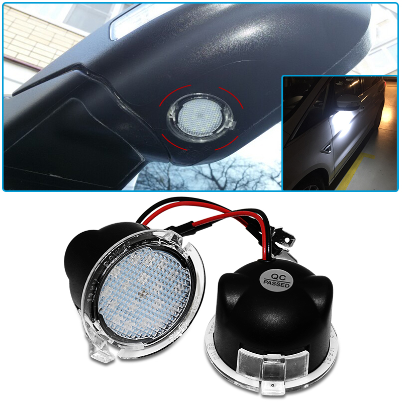 2X Car LED Under Side <font><b>Mirror</b></font> Puddle Light Courtesy Light Super Bright For <font><b>Ford</b></font> Edge Fusion Flex <font><b>Explorer</b></font> Mondeo F-150 Expedition image