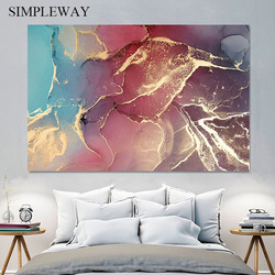 Contemporary Golden Marble Abstract Painting Modern Geometric Artwork Canvas Poster Print Wall Art Picture Living Room Decor