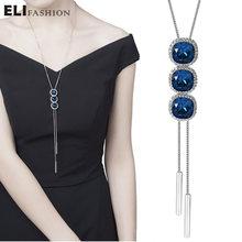 Elifahsion кристалл три круга синий кулон длинное ожерелье Женская