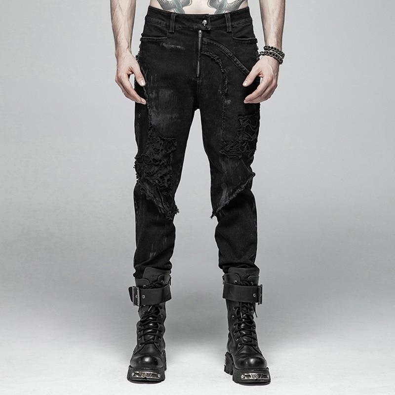 Панк рейв мужские панк рок рваные сетчатые черные длинные брюки готические повседневные мужские мотоциклетные хлопковые джинсовые уличны...