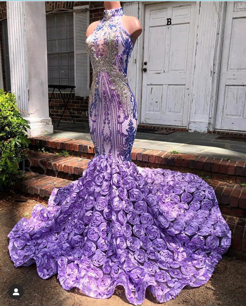 African Black Girl Long Prom Dress Real Pictures Exquisite Beaded Top High Neck 3D Flowers Purple Mermaid Prom Dresses 2020