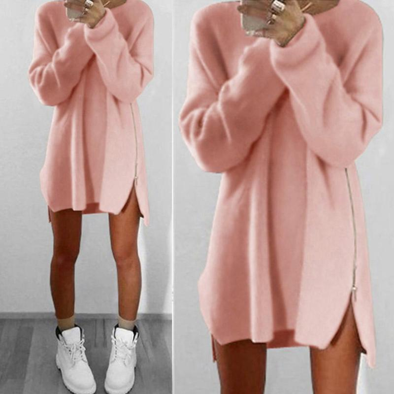 Fashion Women Loose Zipper Solid Pullovers Jumper Sweater Dress Plus Size M-5XL Female Autumn Winter Long-Sleeves Party Dress