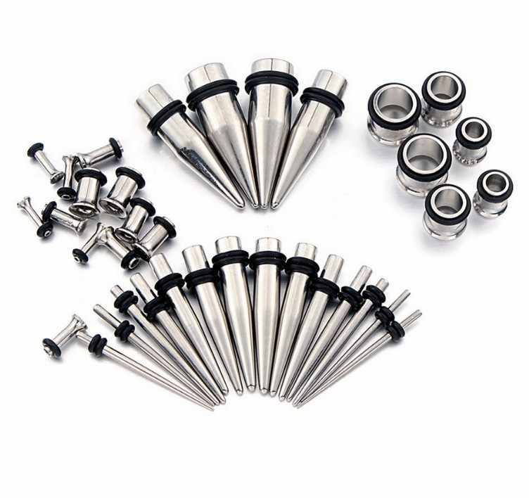 36pcs Stretcher Kit Gauge Kit Set Expander Flesh Ear Tunnel Plugs Earlobe Surgical Steel  Earring Piercing Starter