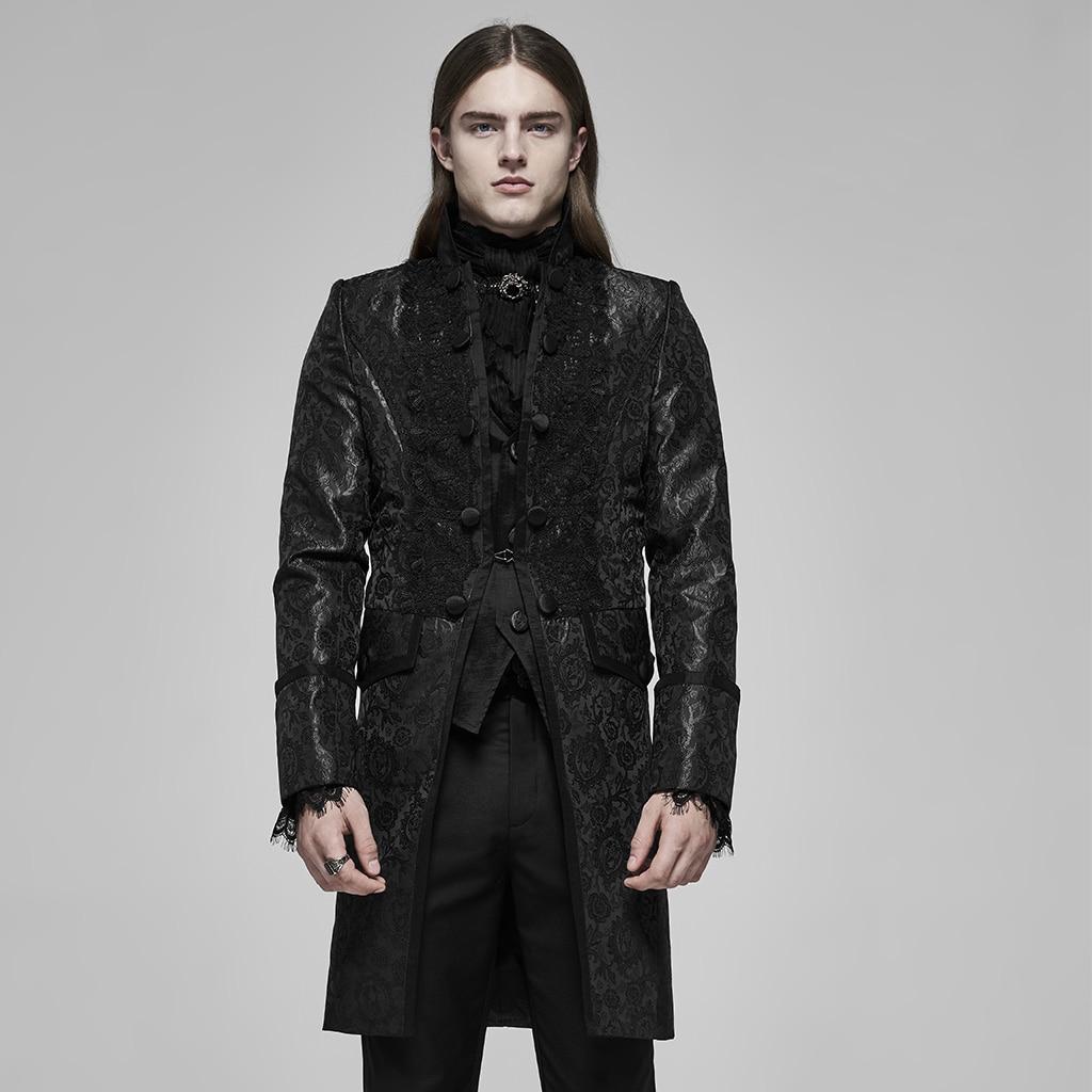 PUNK RAVE Men Palace Jacquard Long Coat Stand Collar Applique Decorative Pattern Evening Dinner Long Jacket