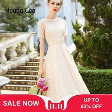 若いジーホワイトピンクレースドレスパーティーかわいい女性エレガントな真珠ビーズ刺繍ミディ妖精ドレススリムウエスト夏 vestidos