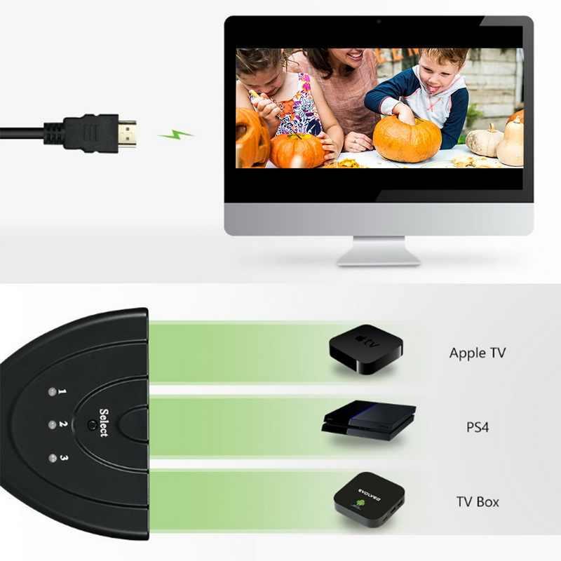 3 منفذ HDMI التبديل 3x1 الجلاد الفاصل كابل دعم الترا HD 1080P