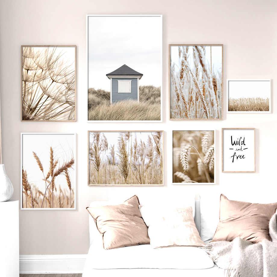 가을 식물 밀 민들레 리드 꽃 벽 아트 캔버스 회화 북유럽 포스터와 인쇄 벽 장식 거실 장식
