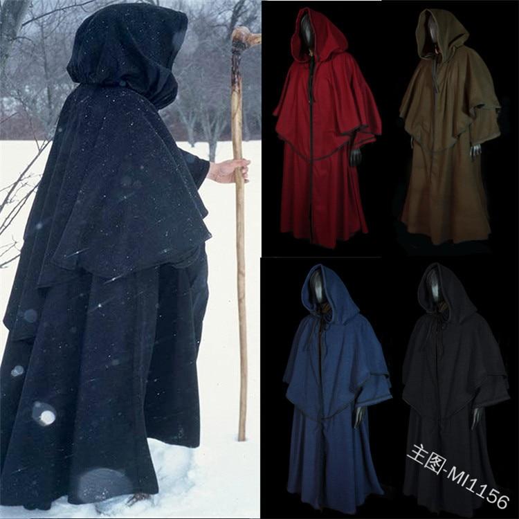 Retro Unisex Men and Women Medieval Cloak Long Sleeve Hood Robe Renaissance Larp Coat Cape Witch Wizard Fantasy Cosplay Costumes