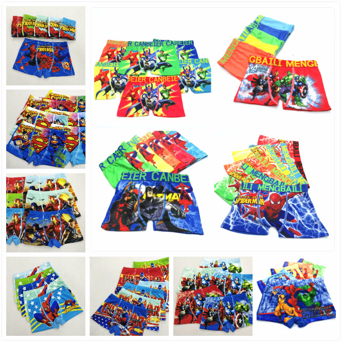 4pcs/lot New Boys Underwear Boxers Underpants Super Hero Spiderman Kids Panties Panty Briefs Infant Teenagers