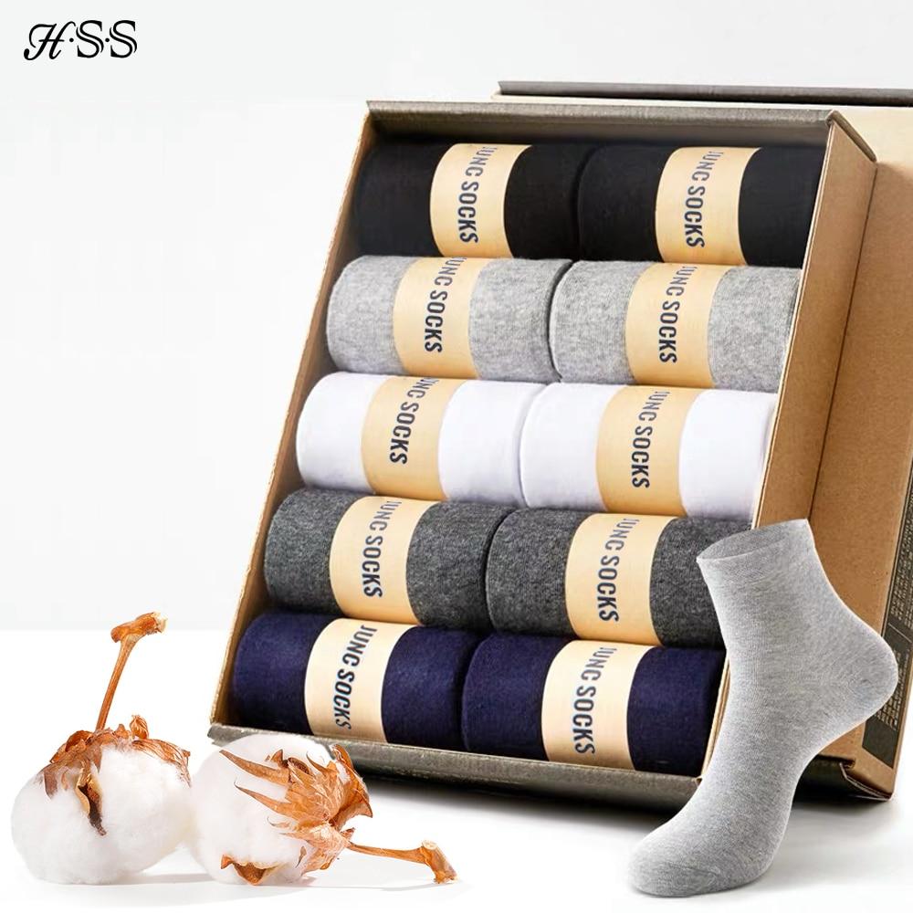 HSS marka Business Men 100% bawełniane skarpetki w nowym stylu czarne skarpety codzienne miękkie oddychające letnie zimowe długie skarpetki Plus rozmiar (7-14)
