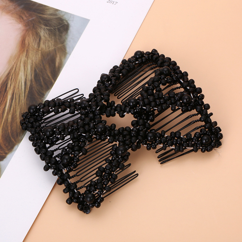 Women Korean Pink Pearl Beads Elastic Hair Combs Double Slide Magic Bun DIY Hairstyle Making Tool Novelty Hair Clip Accessories
