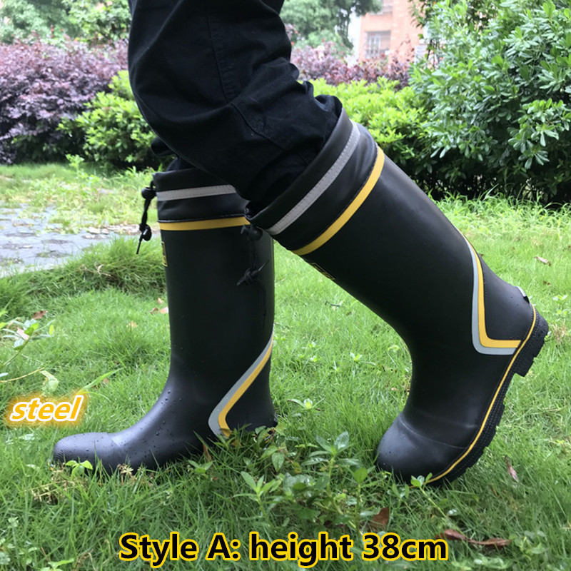 Steel Toe Anti-puncture Rubber Waterproof Boots Safety Non-slip Rain Water Shoes Men Aqua Wader Fishing Garden Car Wash Farm Mud image
