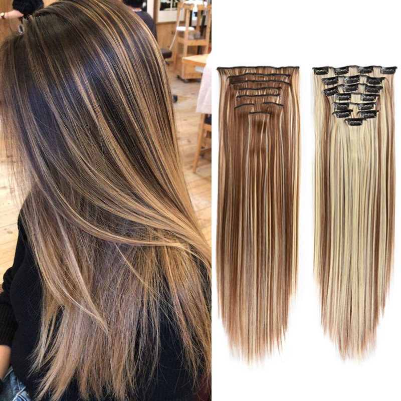 """ZM 8pcs/Set Ombre Clips In Hair Extensions 22"""" Hairpiece Silky Straight Synthetic Hair Extension for Women Girls Heat Resistant"""