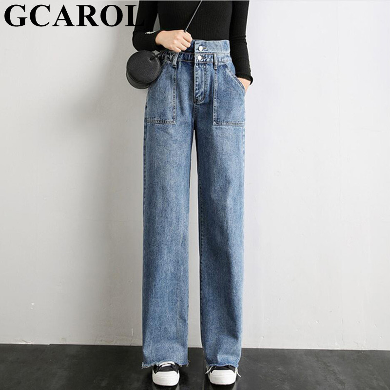 GCAROL New High Waisted 2 Buttons Retro Old   Pants   Elastic Waisted Pockets Denim Jeans   Wide     Leg     Pants   Draped Fall Winter Trousers