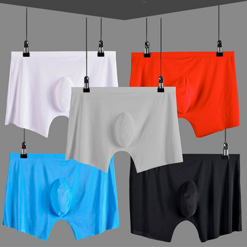 Seamless Ice Silk High Elastic Men's Boxers Underwear Breathable Comfy Bulge Shorts For Men Underpants Accessories L-XXXL