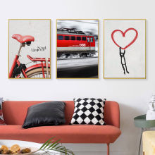 Poster Vintage Retro Red Bike Train Canvas Posters and Prints Abstract Heart Wall Art Picture for Living Room Home Decoration(China)