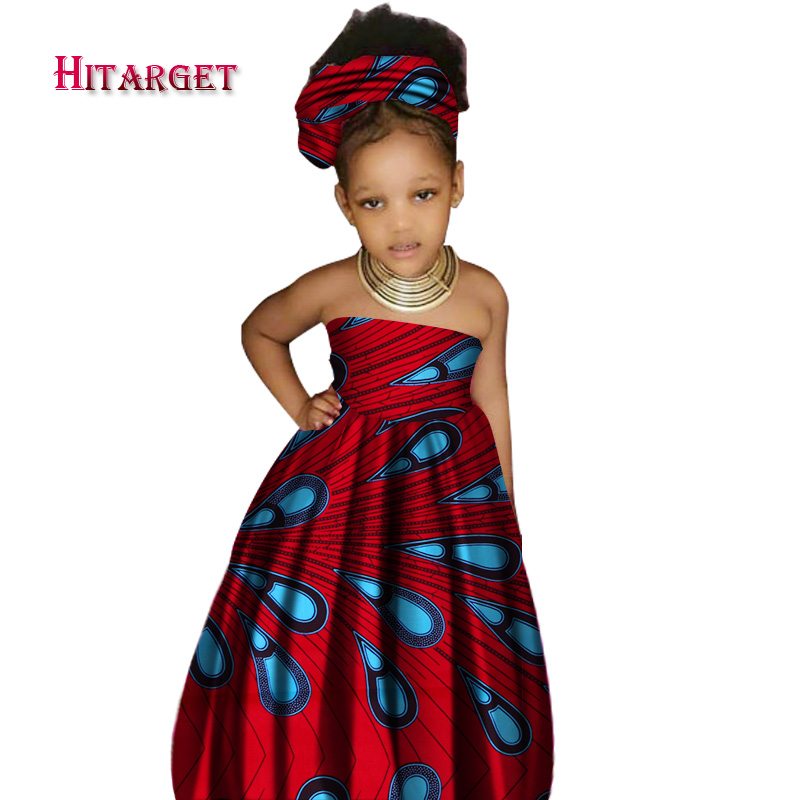 African Cute Kid's Clothing Girl's Dashiki Traditional 100%wax Cotton Print Clothing Africa Print Natural Children Dresses WYT62