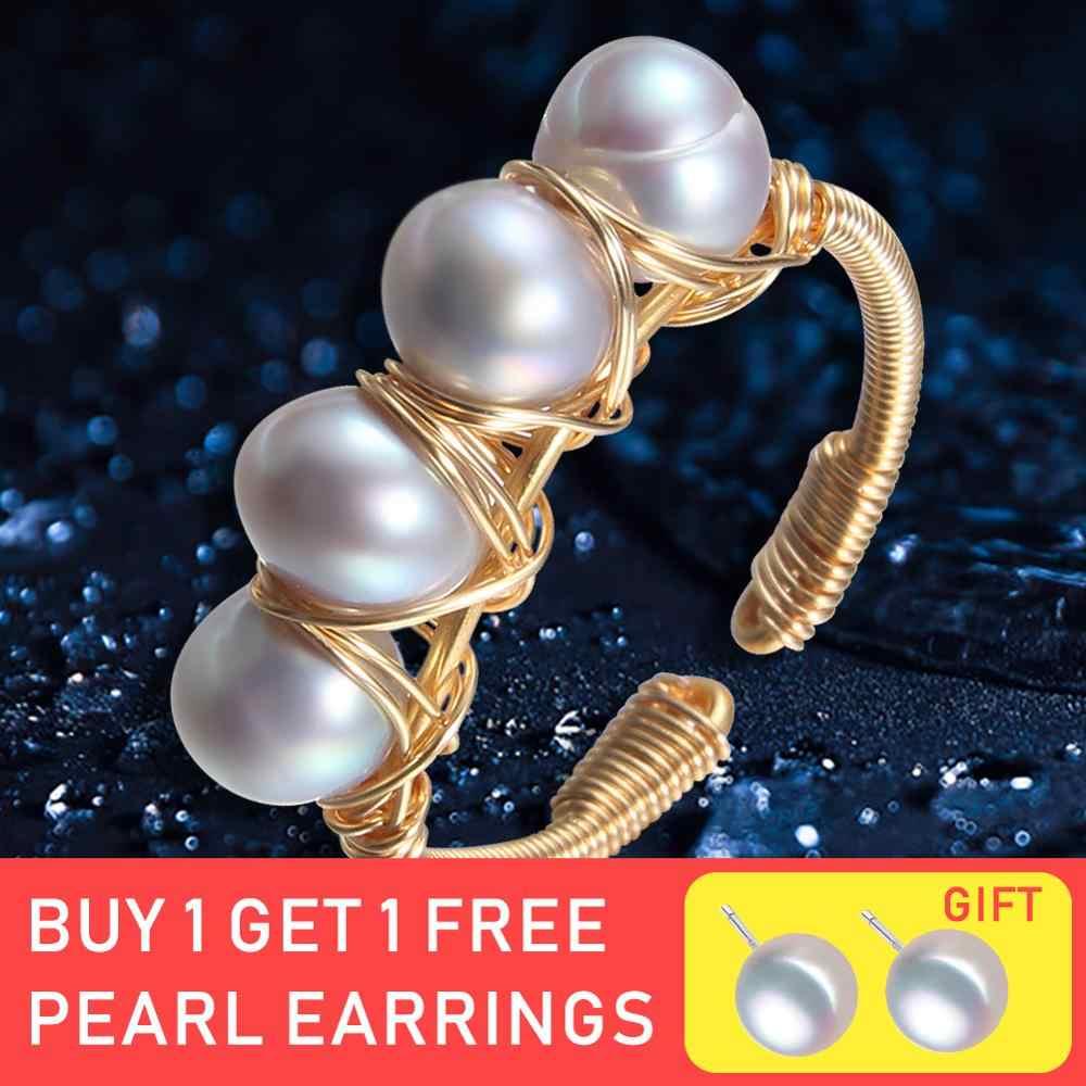 Anillo de apertura de siete niñas 6-7mm anillo de Perla Barroca natural para mujeres anillos de oro creativos hechos a mano de la muchacha de la luz regalo de lujo