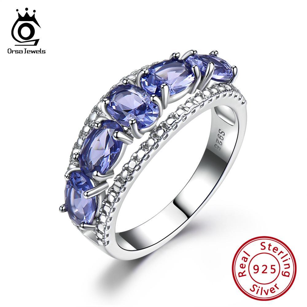 ORSA JEWELS Latest Pure 925 Sterling Silver Fashion Women Bridal Ring Oval Cut Natural Purple Tanzanite  Ring Fine Jewelry VSR18