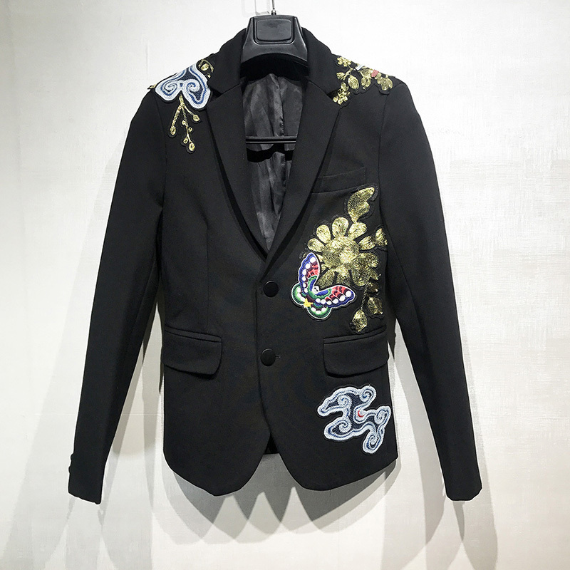 Luxury Vintage Embroidered Blazer Men Wedding Night Club Autumn Winter Slim Suit Coat Fashion Thick Single Breasted Outerwear