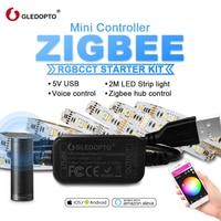 GLEDOPTO Zigbee Controller MINI Smart TV LED Streifen Licht Kit 5V USB RGBCCT Computer LED Streifen Licht Arbeit mit zigbee Hub Echo