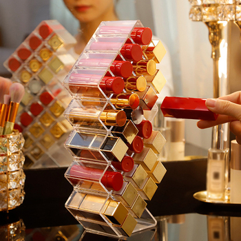 28 Grids Acrylic Lipstick Stand Holder Clear Makeup Organizer Storage Box Cosmetic Box Display Stand Make Up Organizer New