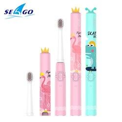 Seago usb crianças escova de dentes elétrica bonito macio alimentos-grau materiais dupont cerda recarregável ultra sonic escova de dentes