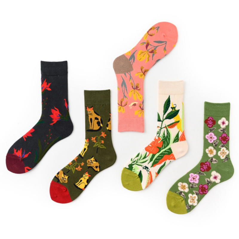Cat Pattern Harajuku Flower Socks Women Funny Combed Cotton Dress Casual Wedding Socks Colorful Novelty Skateboard Socks QW