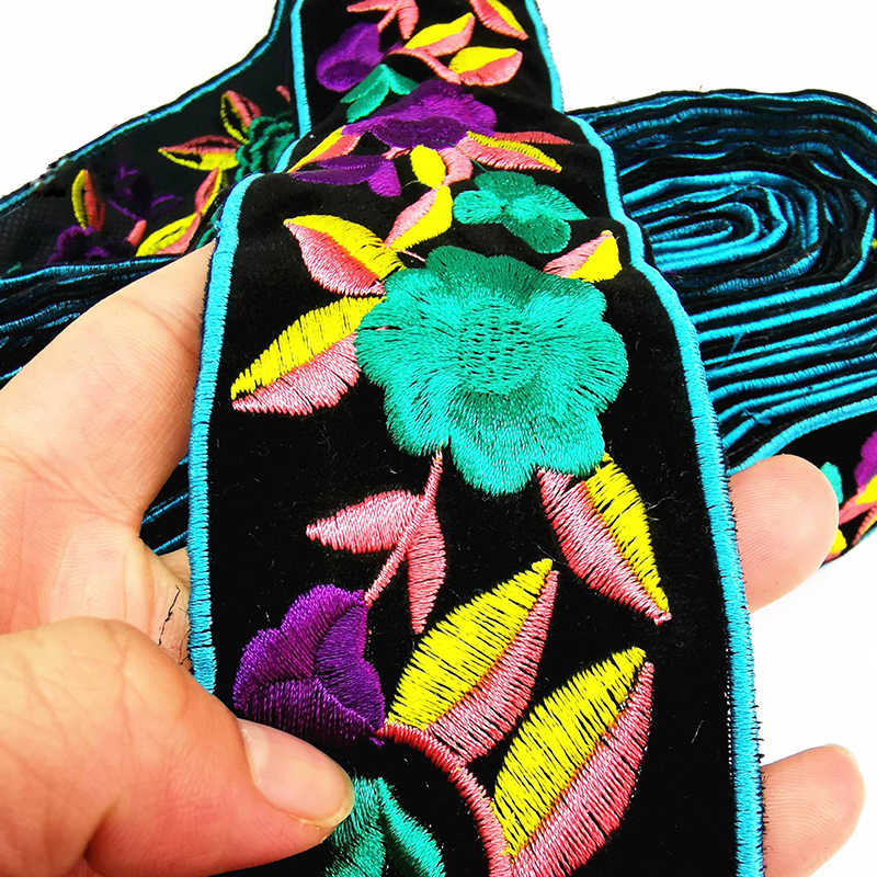 1 Yards Flower Embroidery Lace Trim Ribbon Vintage Boho Lace Trim for Clothes Bag Accessories  Embroidered DIY Sewing Fabric