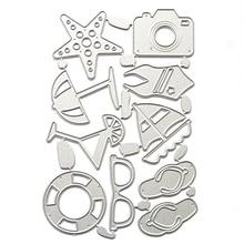 Summer Beach Cutting Dies Frame Embossing Cutter Paper Creative Silver Metal For Scrapbooking Craft