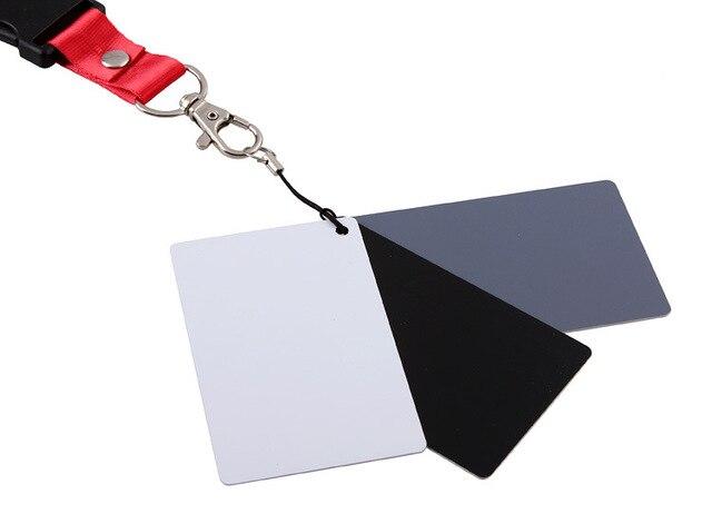 Tarjetas digitales de bolsillo 3 en 1, accesorio para cámara, tarjeta gris y negra, tarjeta 18% gris con correa para el cuello para fotografía Digital