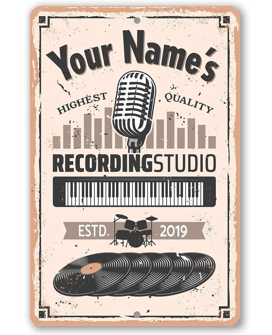 Студия персонализации для записи-прочный металлический знак-8 дюймов x 12 дюймов для использования в помещении/на улице-отличный подарок и де...