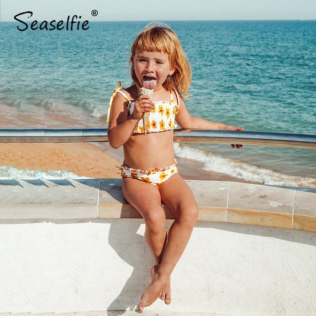 Seashelfie dziewczyny żółty Mini Smocked zestawy Bikini małe dziewczynki dzieci Bandeau dwuczęściowy strój kąpielowy 2021 dzieci kostiumy kąpielowe 2-12Y tanie i dobre opinie Pasuje prawda na wymiar weź swój normalny rozmiar CN (pochodzenie) Floral TC50003M W połowie pasa spandex Multi Two Pieces Bikini Sets