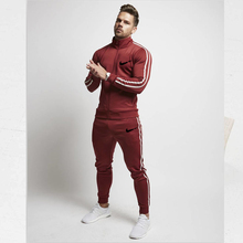 Spring and autumn new fitness clothing mens suit sports solid color striped sportswear two-piece running men
