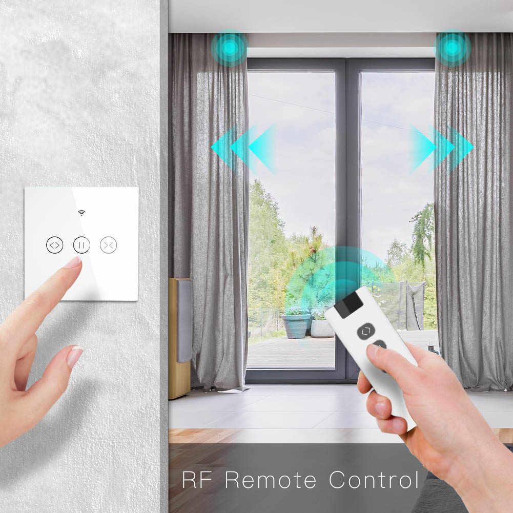 RF WiFi Smart Touch Curtain Tirai Roller Shutter Switch Tuya Kehidupan Cerdas APP Remote Kontrol bekerja dengan Alexa Echo Google Home