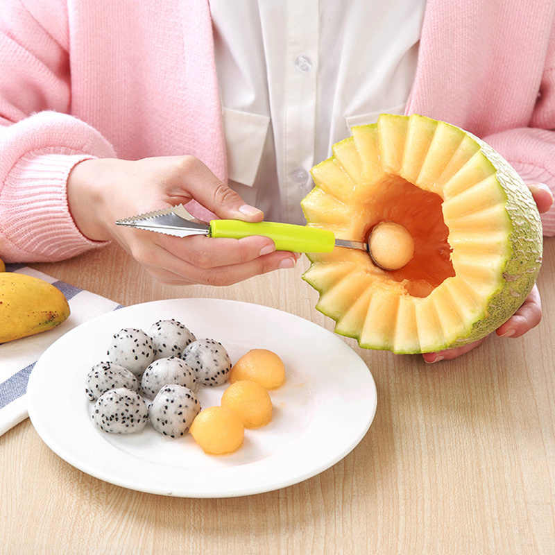Nieuwe 2 in1 Dual-head Fruit Bal Vleesmes Fruit Waterlemon Scoop Meloen Graver Fruit Aardappel Baller Ijs schotel Lepel