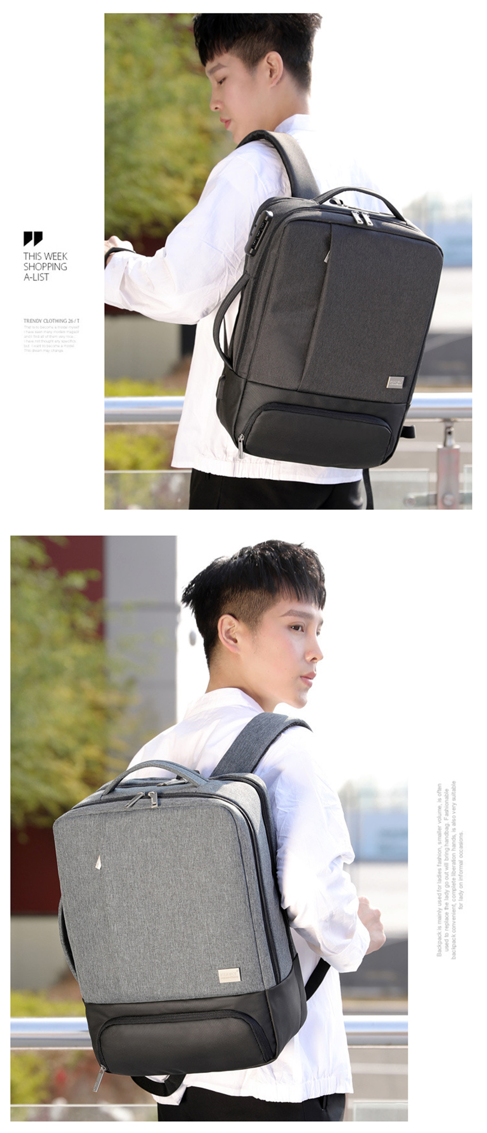 Mens Backpack Laptop Backpacks 17 Inch 15.6'' Anti Theft Male Business Bags Notebook Trip Back Pack Office Women Travel Bagpack (23)