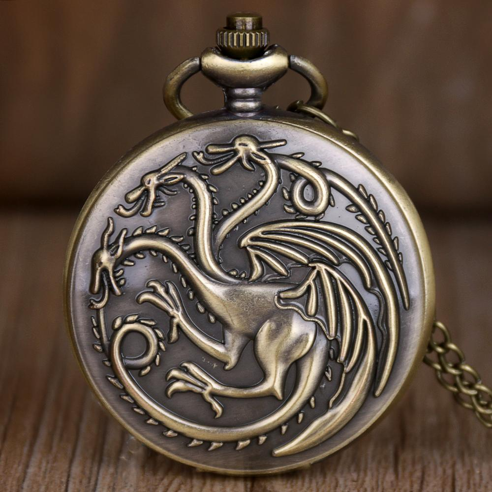 New Vintage Steampunk Quartz Pocket Watches Game Of Thrones Dragon And Blood Pocket Watches Mens Womens Necklace Pendant Clock