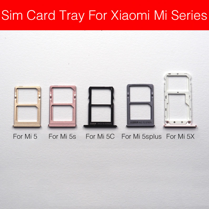 Sim Card Tray Holder For Xiaomi Mi 5 5c 5s 5X 5s+ Plus Sim Card Slot Sim Card Adapters Flex Cable Replacement Repair Parts