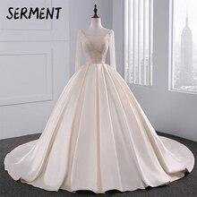 BAZIIINGAAA Satin Bride Princess Wedding Dress 2019 Luxury Light Champagne Hand drilled Long sleeved Sexy Spring Summer