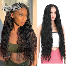 MS 42inch Long Curly Wig Synthetic Lace Front Wigs Long Wavy