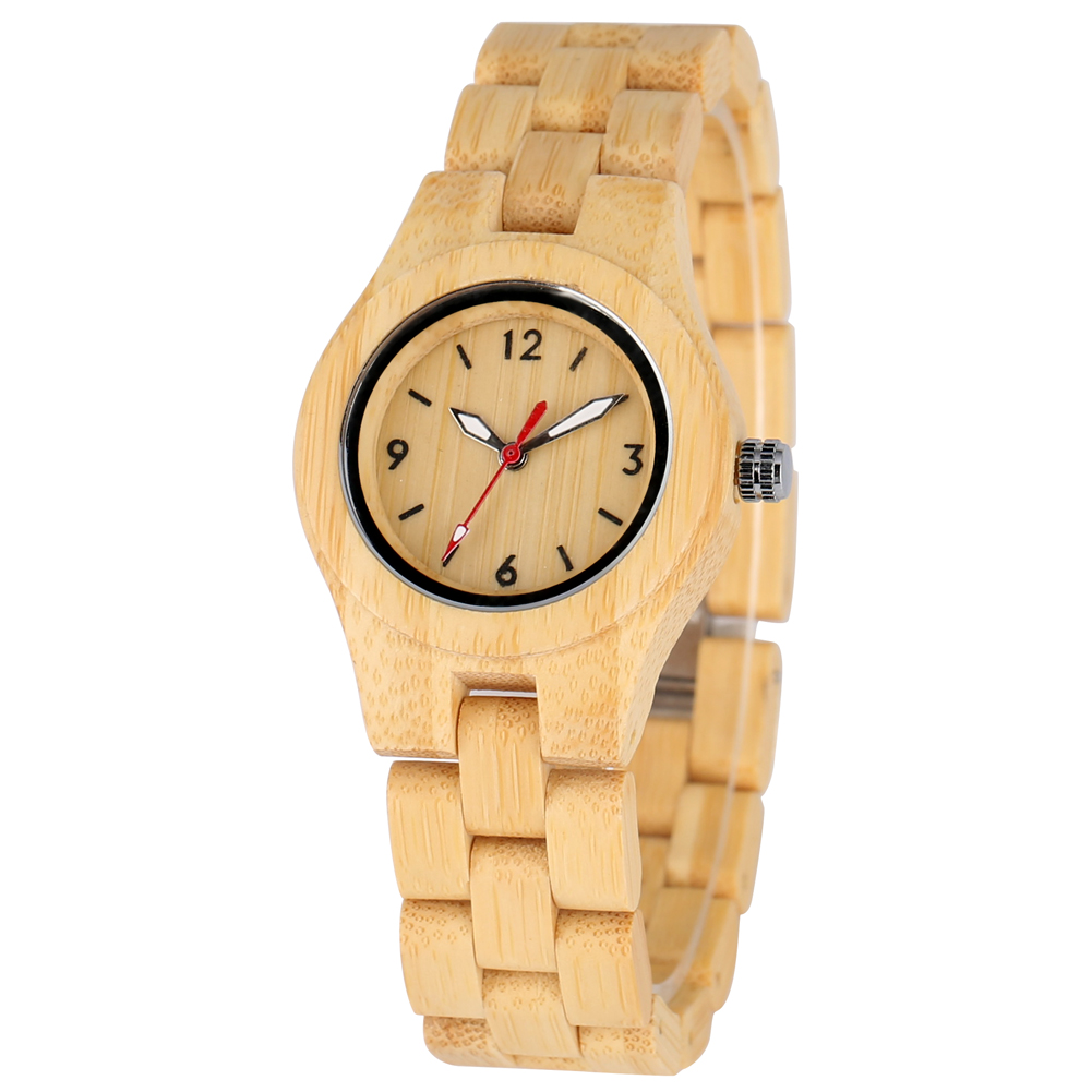 Closeout DealsHandmade Bamboo Wooden Watch for Women Consice Dial with Luminous Pointer Female Wristwatch