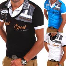 Мужская рубашка поло с коротким рукавом zogaa Повседневная отложным