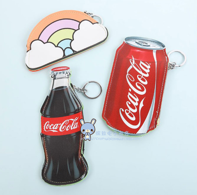 Korean-style Cute Purse Coke Beverage Cans Beer Modeling Coin Bag Pu Bus Pass Bag Keychain Pendant