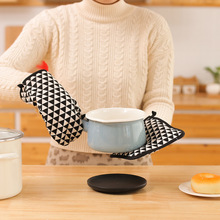 Cotton and linen insulated oven glove mat two-piece set of microwave oven heat-resistant, scald-proof and skid-proof gloves two layers new producet white cotton heat resistant glove safety working glove cotton glove oven glove protect hands