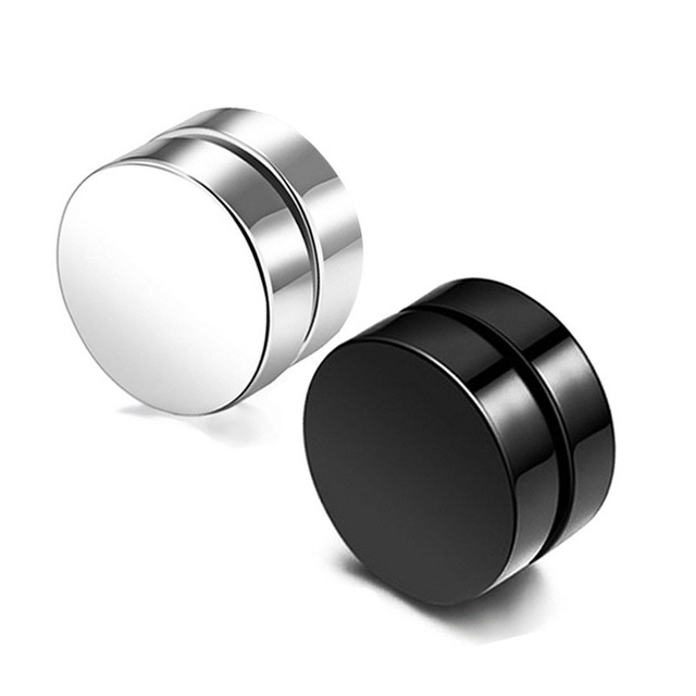 2pcs lot 6 8 10 mm Hot Double Side Black Magnet Round Circle Punk Stud Earrings.jpg 640x640 - 2pcs/lot 6/8/10 mm Hot Double Side Black Magnet Round Circle Punk Stud Earrings Stainless Steel Men's Magnetic Ear Studs