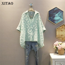 XITAO Irregular Blouse Fashion New Women Pleated Patchwork Small Fresh Casual Style Pullover 2021 Summer Loose Shirt ZY6332